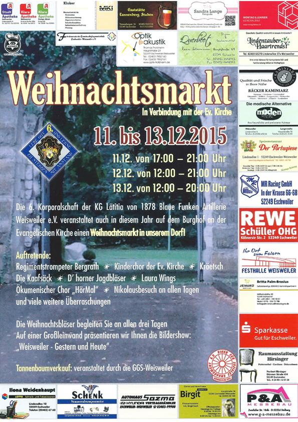 Weihnachtsmarkt Weisweiler 2015 Plakatt